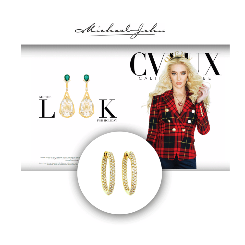 Erika Girardi wore Michael John Jewelry hoops for the latest CVLUX Holiday cover.