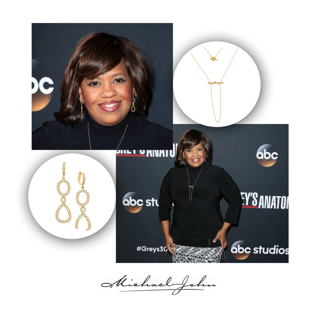 "Chandra Wilson wore Michael John Jewelry to the""Grey's Anatomy"" 300th Episode Party."