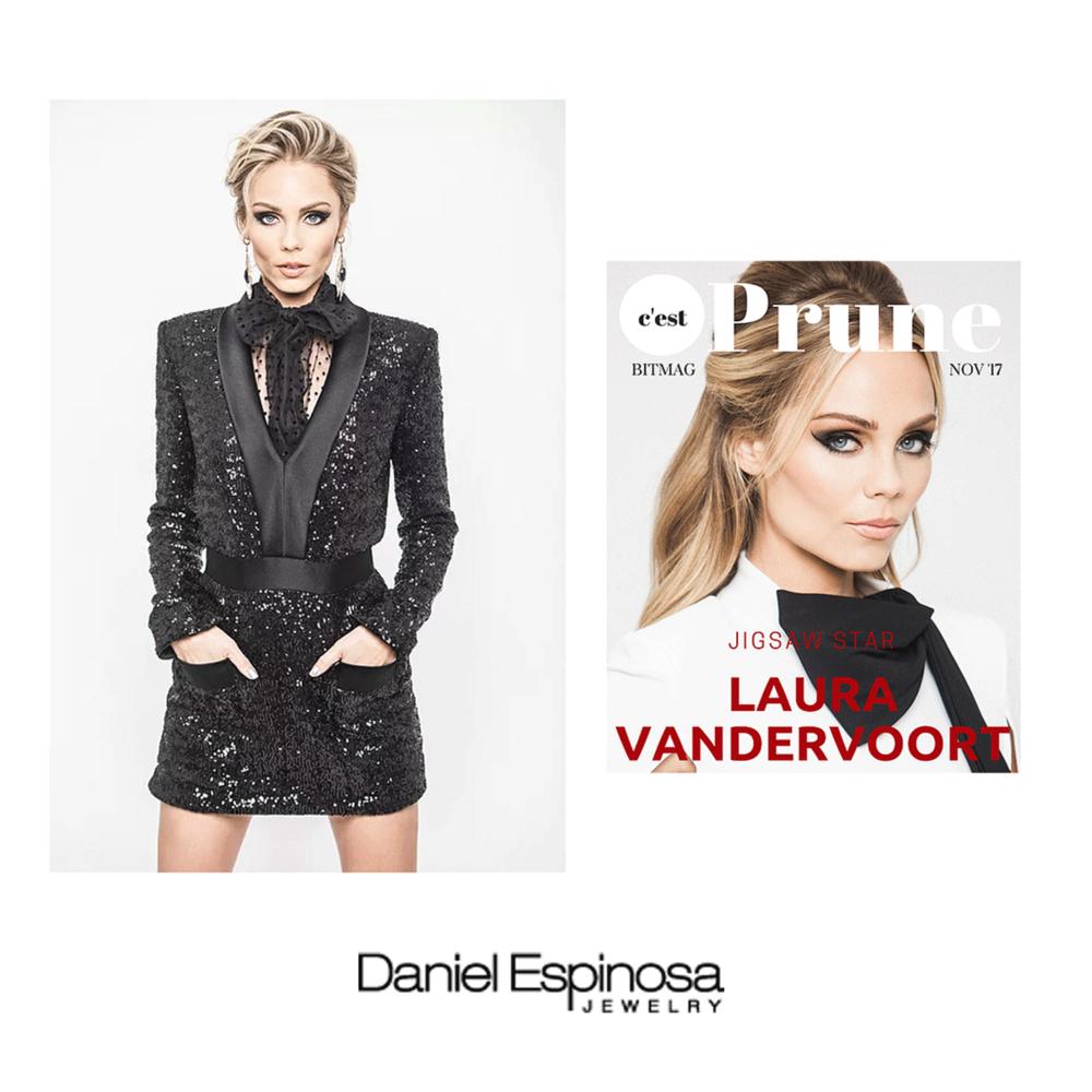 Laura Vandervoort rocked Daniel Espinosa statement earrings in Prune Magazine.
