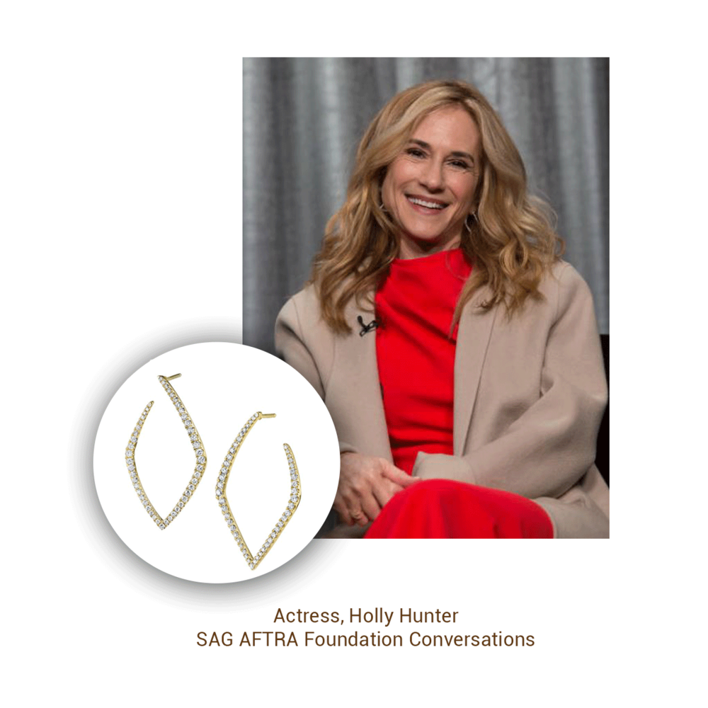 Academy Award winner Holly Hunter wears modern Sylvie Collection hoops at the SAG AFTRA Foundation.