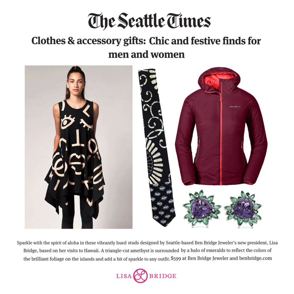 Lisa Bridge's Hawaii Collection studs were featured in Seattle Times gift guide.