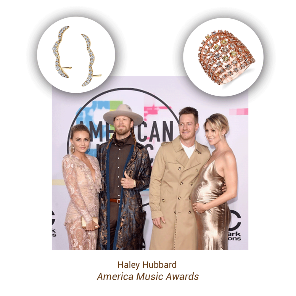 """Haley Hubbard wore Sylvie Collection 14k yellow gold diamond ear climbers & 14k rose gold diamond fashion ring to the """"America Music Awards"""" with her husband Tyler Hubbard of Florida Georgia Line"""