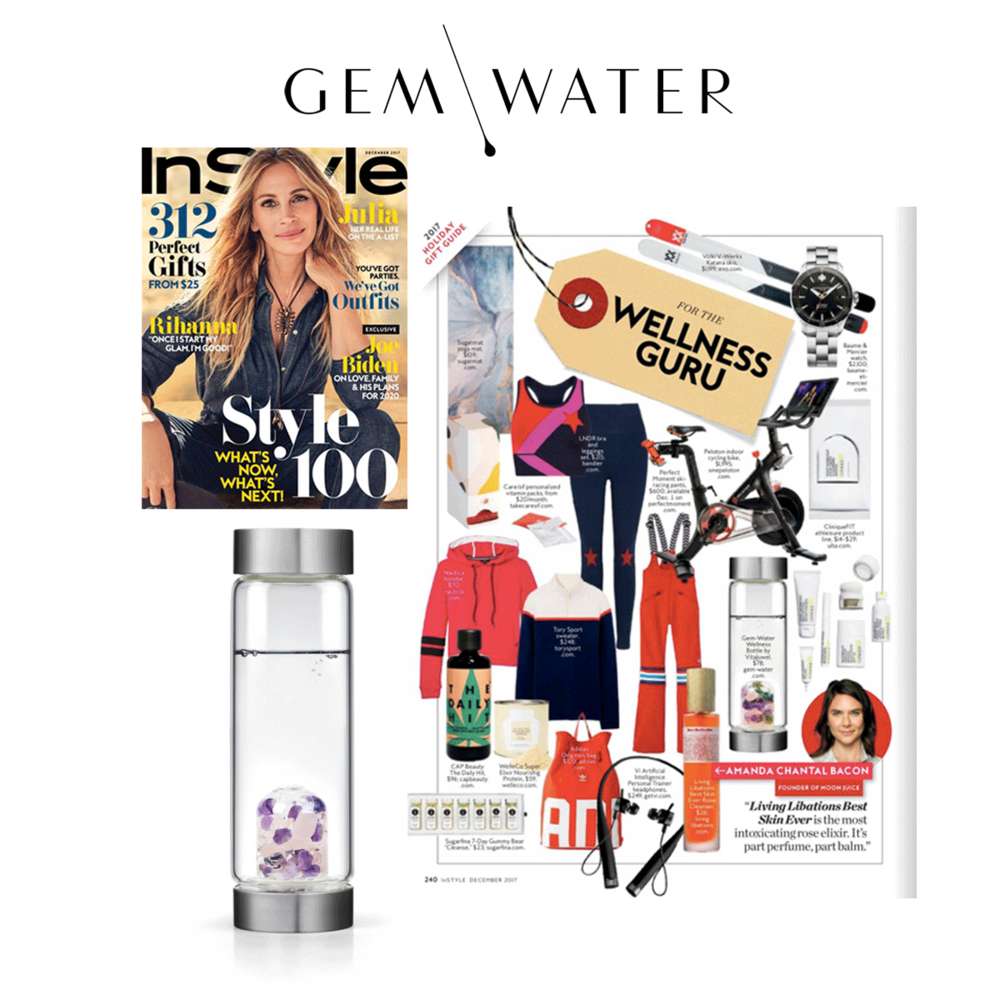 Gem Water was featured in InStyle'sDecember Magazine Holiday Gift Guide.
