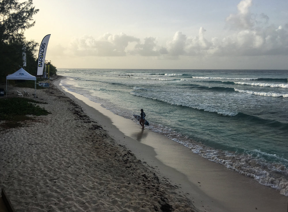 Pre-comp session at dawn. One of the 157 international pro surfers that descended onto Barbados' shores for the 2017 Barbados Surf Pro QS300