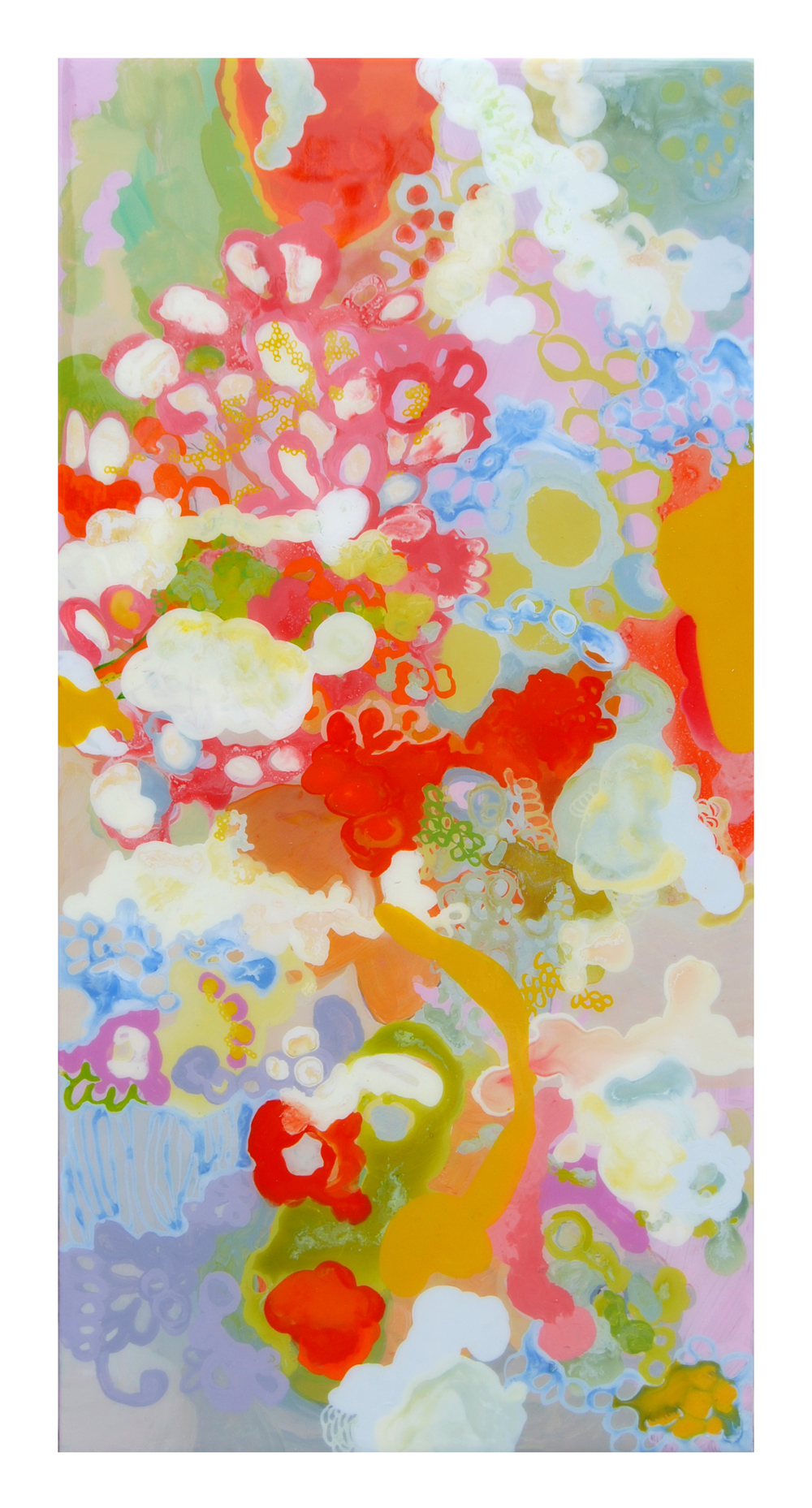 "The Secret Life of Seeds Variation 9, 12 x 24"" acrylic and resin on panel by Laura Zeck"