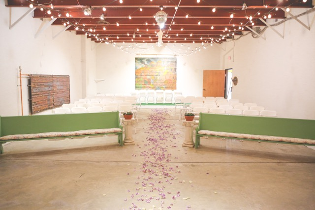 The space set up for a wedding ceremony