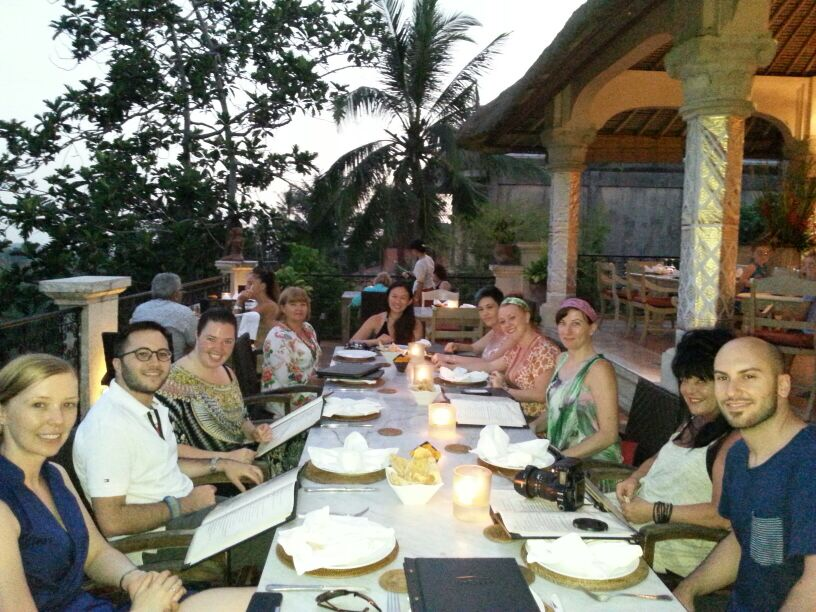 mmyoga retreat group having dinner at indus