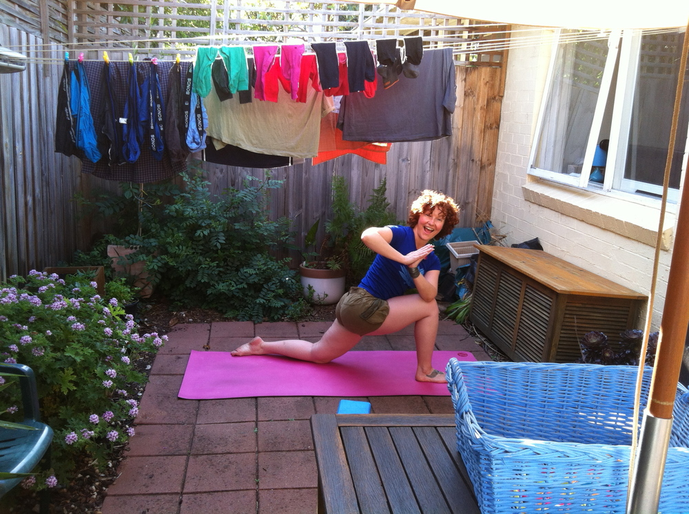 Parsvakonasana parivrtti. Yoga can happen anywhere!