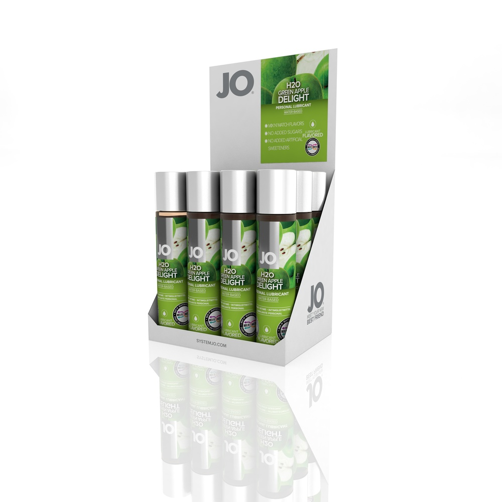 10385 - JO H2O FLAVORED LUBRICANT - GREEN APPLE - 1fl.oz 30mL (MOQ 12 units - Includes Counter Display).jpg