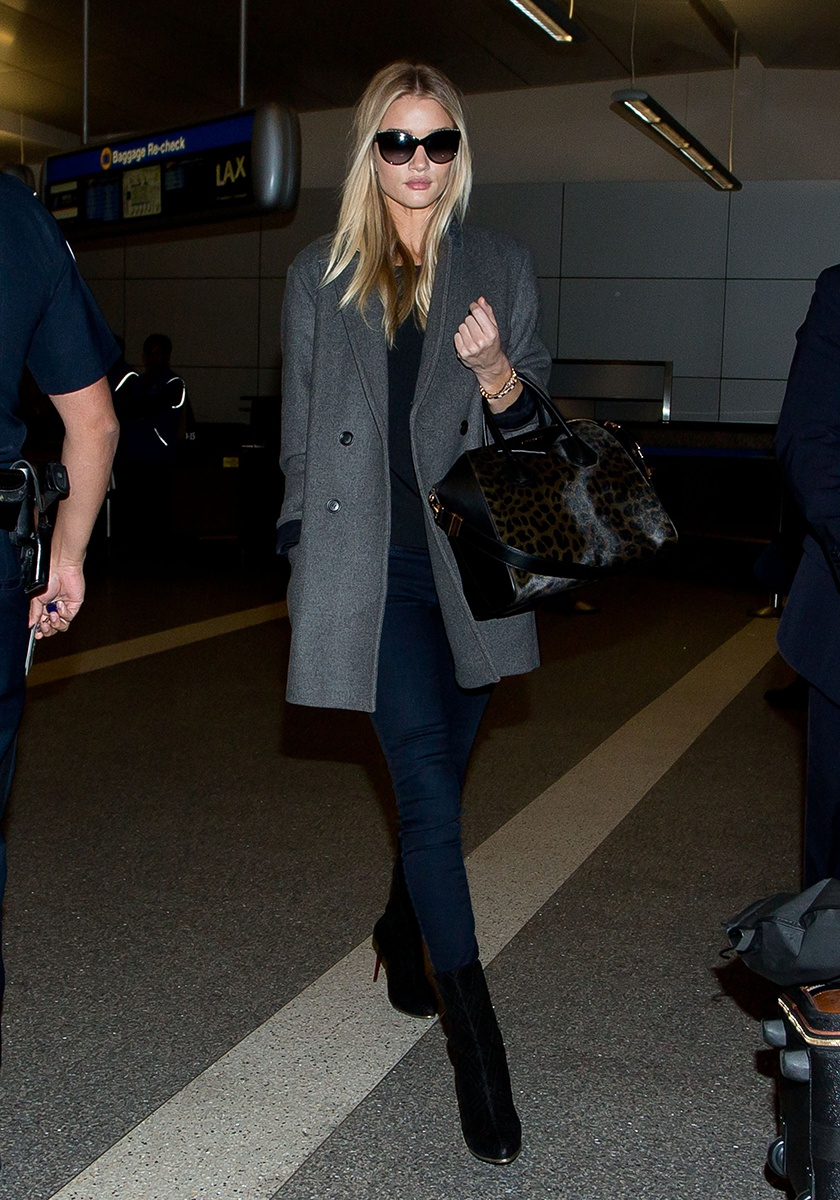 J Brand jeans, Chanel sunglasses, Givenchy bag, Isabel Marant pour H&M coat, Balmain shoes   Los Angeles International Airport, February 2014