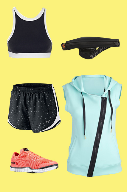 T by Alexander Wang Sandwashed Pique Sports Bra, $130, available at Net-A-Porter;SPIbelt The Original SPIbelt, $19.98, available atSPIbelt; Alala Neoprene Vest, $145, available at Carbon38; Reebok ZQuick TR, $89.98, available at Reebok; Nike Women's Polka Dot Print Tempo Shorts, $34, available at John Lewis.
