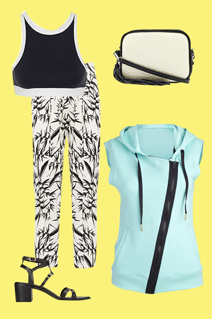 T by Alexander Wang  Sandwashed Pique Sports Bra, $130, available at Net-A-Porter; Pour la Victoire  Nora Crossbody, $219.99, available at Piperlime;  Alala  Neoprene Vest, $145, available at Carbon38;  Forever 21 Favorite Chunky Sandals, $32.79, available at Forever 21;  Alice + Olivia  High Waist Pleated Straight Leg Trouser, $145.19, available at Alice + Olivia.