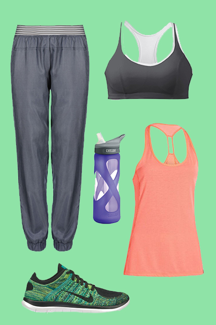 Stella McCartney Essentials Track Pants, $160, available at Stella McCartney; Champion Shape T-Back Sports Bra, $10, available at Modell's Sporting Goods; CamelBak The Eddy Glass. 7L, $25, available at CamelBak; Under ArmourHeatgear Fly-By Stretch Mesh Tank, $29.99, available at Champs Sports; Nike Free 4.0 Flyknit DC Women's Running Shoe, $135, available atNike.