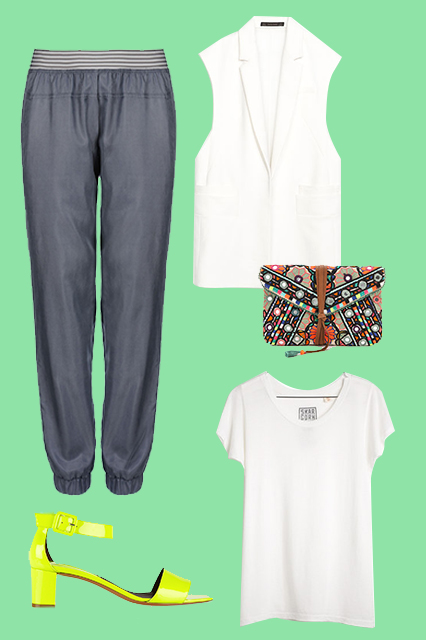 Stella McCartney Essentials Track Pants, $160, available at Stella McCartney; Zara Combined Waistcoat, $99.90, available at Zara; Star MelaJasmin Clutch, $231, available at Shopbop;SkarGorn #45 tee, $55, available at Madewell;Bruno Magli Neon Patent-Leather Sandals, $595, available at Net-A-Porter.
