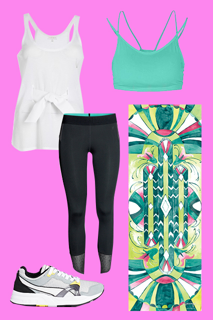 PUMA   Trinomic XT 1 Plus Gray Sneakers, $123.85, available at  ASOS ;   H&M   Sports Tights, $34.95, available at  H&M ;   Lucas Hugh   Elite Mesh Tank, $190, available at  Lucas Hugh ;   LIJA  Ultimate Double Strap Bra Top, $50, available a t House of Fraser ;   Magic Carpet Yoga Mats  Deco Magic Carpet Yoga Mat, $89, available at  Magic Carpet Yoga Mats .