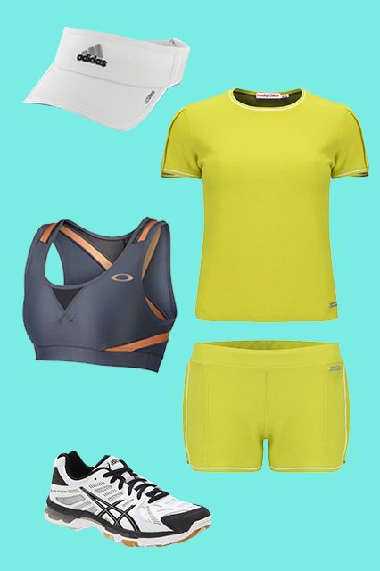 See By Chloé Women's Summer Sweat T-Shirt, $188.76, available at Coggles; See By Chloé Women's Piquet Sweat Shorts, $188.76, available at Coggles; Asics GEL-Volleycross Revolution Volleyball Shoe, $109.95, available at Nordstrom;Oakley Achievement Bra, $49.50, available at Oakley; adidas Adizero 2 Visor, $18, available at adidas.