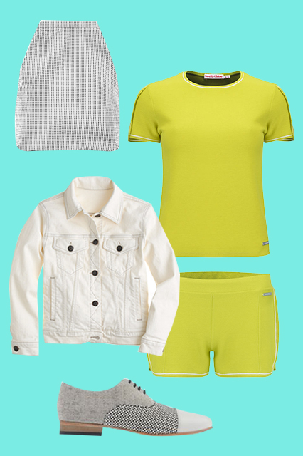 See By Chloé Women's Summer Sweat T-Shirt, $188.76, available at Coggles; See By Chloé Women's Piquet Sweat Shorts, $188.76, available at Coggles; Dieppa Restrepo Oxfords and Brogues, $350, available at Shoescribe; J.Crew Nolita Denim Jacket, $128, available at J.Crew;COS Lightweight Backpack, $59, available at COS. source