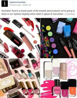 The make-up chain has amassed more than 14,000 fans on Facebook since announcing an Australian opening earlier this year.Photo: Facebook