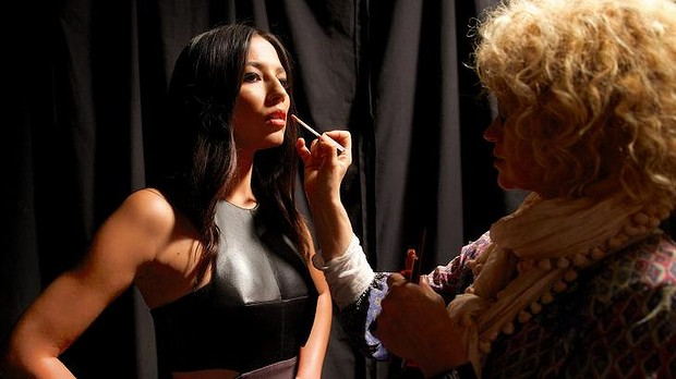 Forget fashion retail wars, come December Sephora, David Jones and Myer will be doing battle via cosmetic counters. Here Jessica Gomes gets a last-minute touch up before the DJs fashion preview.