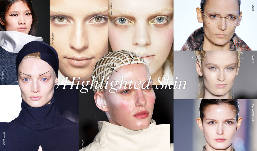 Controlled highlights glazed the runway. When you thought that you were looking at a matte skin as soon as the model turned the corner or a light hit them in the right spot you saw a heavenly glow. Controlled highlights means that the entire face is not a greasy mess. The key artists made sure to pull the light from selected areas.