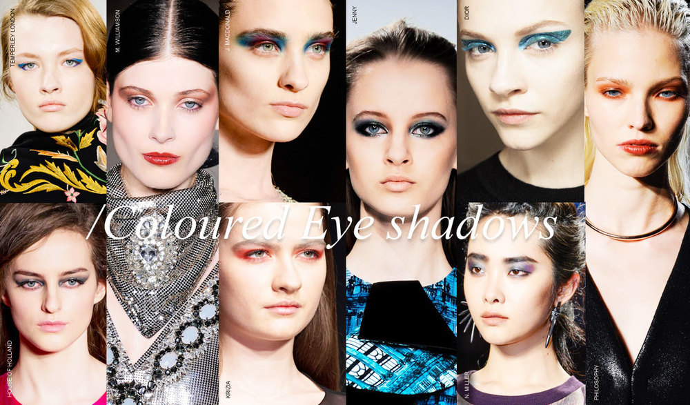 Would not be Fall/winter with out bold expressions. Eyes were graphic, and made a statements. Smoky eyes with color. Eyes were lined with color, and black liner gave way to triple winged liner that had an air of modern sophistication. Dare to be bold!!!!