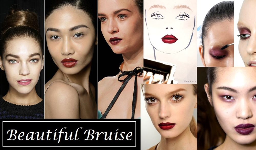 Bruised isn't something we would necessarily associate with makeup we usually want to cover it up that accent it. But This season because berries, burgundies and plums reign supreme it was best fitting to use these colors on eyes lips and cheeks. Like lipsticks in cheeks and eyes.