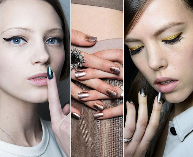 Bejeweled nails with an ombre finish. Rock star statement that would make everyday a moment for life! From pearls on the nails to gold leaf....There is an air of regality fused with a punky undertone.