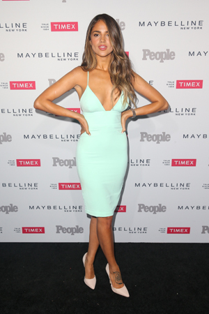 Eiza Gonzalez   stole the show at   People  's One To Watch event in this little pastel dress that hugs her in all the right places.