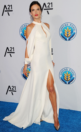 Supermodel   Alessandra Ambrosio   was a stunning vision in white at the Unitas Gala Against Sex Trafficking.