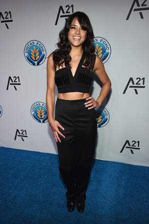 Michelle Rodriguez   gave us major ab goals rockin' this black pants and sexy cropped top ensemble for the Unitas Gala Against Sex Trafficking.