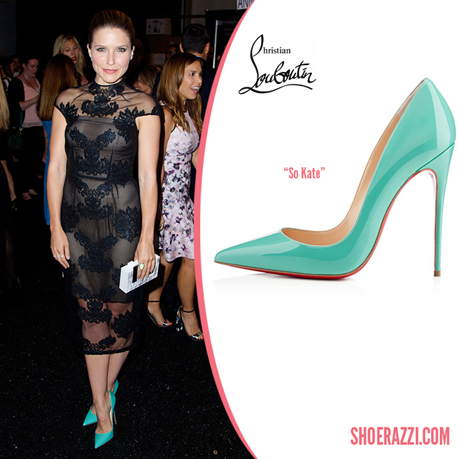 Credit: Alberto Reyes/Wenn   Sophia Bush  wore  Christian Louboutin   So Kate  pumps to Monique Lhuillier's Spring 2015 fashion show held during Mercedes-Benz Fashion Week in NYC. They're from the  Spring 2014 collection  featuring aquamarine patent leather and 120mm heel. We've also seen these on  Zendaya Coleman  &  Naomie Harris .  So Kate  is available in several styles at  Saks Fifth Avenue , in black patent leather at  Barneys  and in more colors at  Christian Louboutin .   Outfit Details : Monique Lhuillier Fall 2014 black high neck dress with cap sleeves and sheer embroidered overlay, white/black box clutch plus jewelry from Graziela Gems including a   Moonstone  ring  &   Dash  earrings .