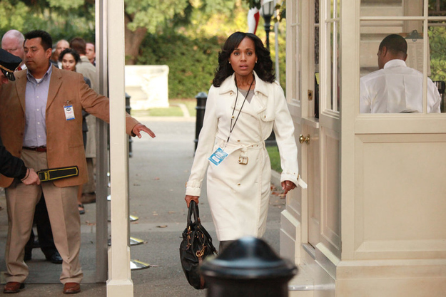 "abc.go.com Episode: Season 1, Episode 7, ""Grant: For the People"" Designer: Tory Burch Fun Fact: ""It's the only thing we've ever done with Tory Burch. It was on the pilot, and we couldn't find white anywhere. It subsequently fell to pieces because we wore it so much on the first season."""