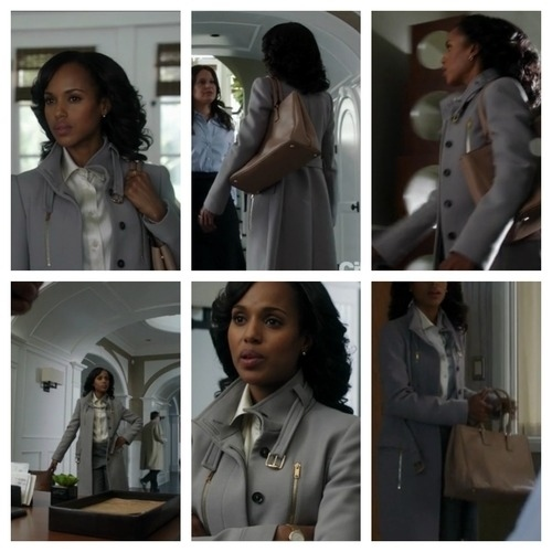 "abc.go.com    Episode : Season 2, Episode 9, ""Blown Away""  Designer : Gucci coat  Why it was chosen : ""It was the most expensive thing we had in her closet. We always say it's a little  Casablanca , but she's Humphrey Bogart.""  Fun Fact : This is the piece of fashion that fans ask about most frequently."