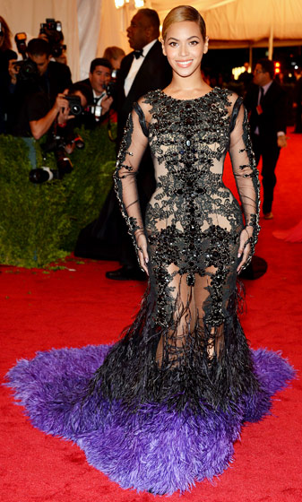 Credit: Kevin Mazur/WireImage.com   Beyonce dazzled in Givenchy Haute Couture at the Metropolitan Museum of Art Costume Institute gala in NYC in May 2012, just five months after giving birth to daughter Blue Ivy.  Read more:  http://www.usmagazine.com/celebrity-style/pictures/hollywoods-hottest-fashion-designers-2013192/28597#ixzz3mlpoa6k3
