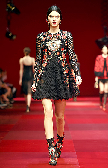 Credit: Venturelli/WireImage)    The Dolce & Gabbana runway show was one of the model's biggest highlights to date. The star closed out the show in a white button-up top and strawberry-hued hot pants on Sept. 21, in Milan.