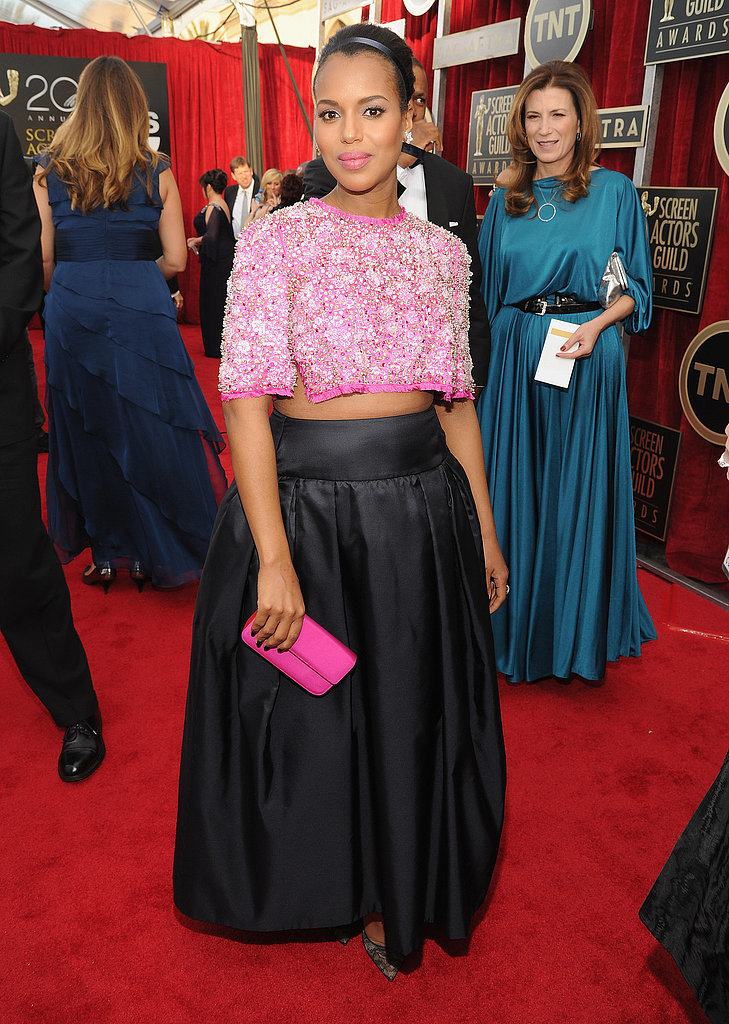 "Image Source: Getty Scandal star Kerry Washington incited some controversy of her own when she took to the SAG Awards' red carpet  in a daring, embellishedPrada crop top and high-waisted skirt. ""I really don't have anything to hide anymore!"" the expectant Washington told reporters of her statement-making ensemble."