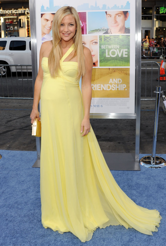 "Image Source: Getty / Jon Kopaloff Kate Hudson in Canary Yellow Kate Hudson showcased her signature ""California golden girl"" style in a gorgeous Grecian Versace gown at the premiere of Something Borrowed in 2011."