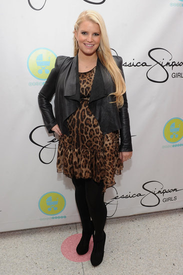 Image Source: Getty   Jessica Simpson Loves Her Leopard Jessica Simpson glowed in a leopard-print dress and leather jacket while expecting baby Maxwell at the launch of Jessica Simpson Girls at Dylan's Candy Bar.