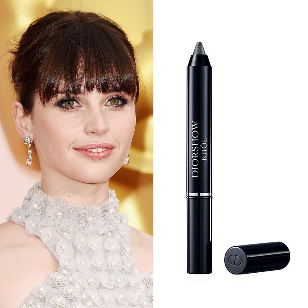 Image Source: Getty   Felicity Jones at the Oscars  Felicity's smoky eye was the perfect balance between feminine and sexy. Makeup artist Sabrina Bedrani focused the  Diorshow Khol Stick  ($32) in Smoky Black along the outer corners of the eyes to keep the liner from becoming too heavy.