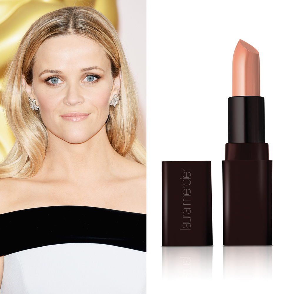 Reese Witherspoon at the Oscars     Makeup artist Molly R. Stern used  Laura Mercier Creme Smooth Lip Colour in Peche  ($35) on Reese's lips to create the perfect bright nude.  Image Source:  Getty    Read More     Oscars Beauty  Celebrity Beauty  Award Season  Beauty Shopping  Oscars  Golden Globe Awards  Laura Mercier  Red Carpet  Reese Witherspoon