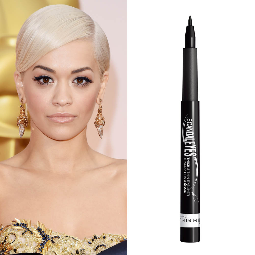 Rita Ora at the Oscars     Rita Ora and cat eyeliner go hand in hand. For the Oscars red carpet, makeup artist Kathy Jeung used  Rimmel London Scandaleyes Thick and Think Liquid Pen Eyeliner  ($10) to get the star's signature flick.  Image Source:  Getty    Read More     Oscars Beauty  Celebrity Beauty  Award Season  Beauty Shopping  Rita Ora  Oscars  Golden Globe Awards  Rimmel London  Red Carpet