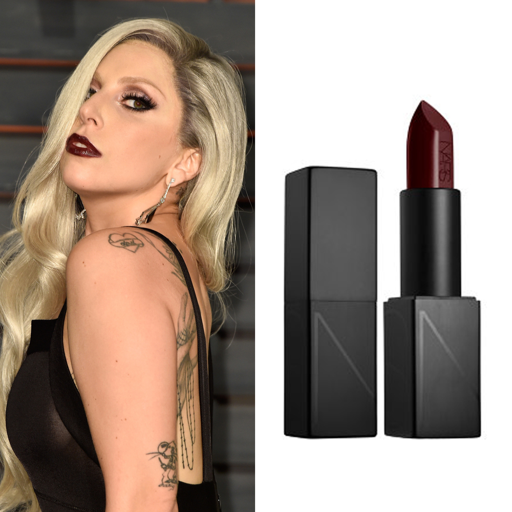 Lady Gaga at the Oscars     At the Vanity Fair Oscars party,  Lady Gaga  switched up from her bright red lip to something moodier. Makeup artist Sarah Tanno applied  Nars Audacious Lipstick in Bette ($44) to give the singer a more dramatic after-party look.  Image Source:  Getty    Read More     Oscars Beauty  Nars  Celebrity Beauty  Award Season  Beauty Shopping  Oscars  Golden Globe Awards  Red Carpet  Lady GaGa