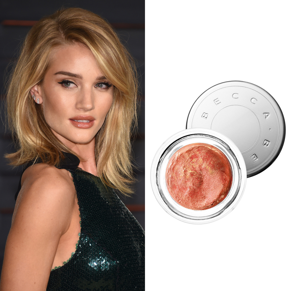 Rosie Huntington-Whiteley at the Oscars      Becca Beach Tint Shimmer Souffle in Guava/Moonstone  ($45) is the product makeup artist Monika Blunder used to give Rosie a radiant glow on the Vanity Fair Oscars party red carpet.  Image Source:  Getty    Read More     Oscars Beauty  Celebrity Beauty  Award Season  Beauty Shopping  Oscars  Golden Globe Awards  Becca Cosmetics  Rosie Huntington-Whiteley  Red Carpet