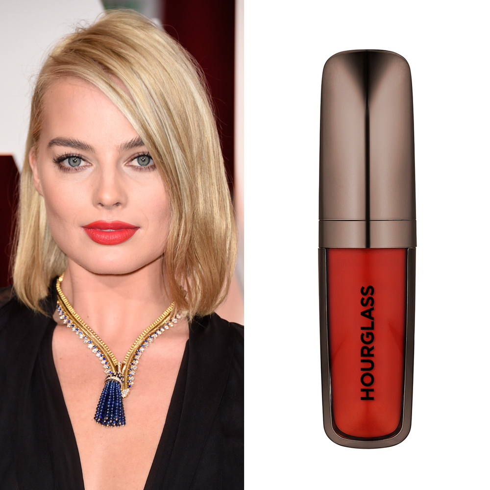 Margot Robbie at the Oscars     Want Margot's fire-red lip colour from the Oscars red carpet? Swipe on  Hourglass Opaque Rouge Liquid Lipstick in Raven  ($38). It's the exact statement shade makeup artist Tyron Macchausen used on the Aussie actress.  Image Source:  Getty    Read More     Oscars Beauty  Celebrity Beauty  Award Season  Beauty Shopping  Oscars  Golden Globe Awards  Hourglass Cosmetics  Margot Robbie  Red Carpet