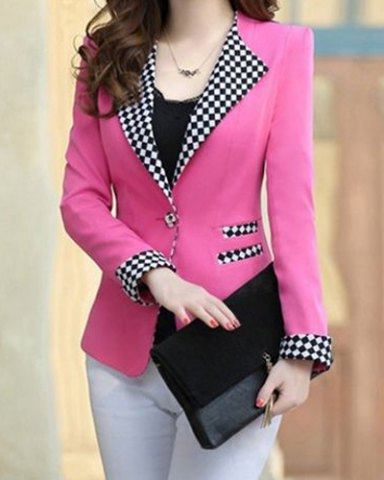 Elegant Long Sleeve Lapel Plaid Splicing Women's Blazer - pink 1.jpg