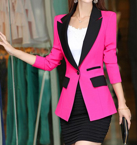 Stylish lapel color spicing One-Button Long sleeve Women's blazer.jpg