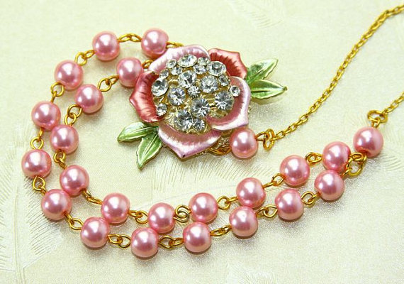 Enamel Rhinestone flower bib statement necklace. $ 22.00