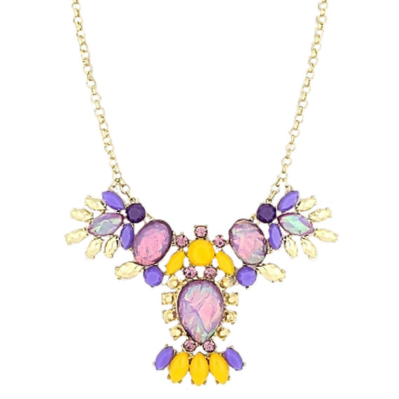 purple  multi teardrop chandelier splattered Effect color block on Gold tone Boho chic  spring summer 2015 $ 28.50 USD
