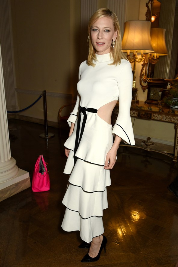Cate Blanchett in Proenza Schouler ruffled spring/summer 2016 dress at the Academy Of Motion Pictures Arts & Sciences New Members Reception, London.