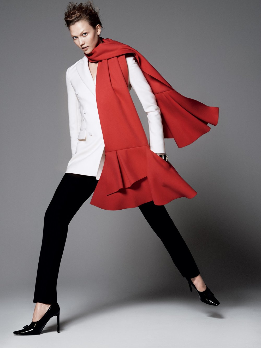 Karlie Kloss in a Christian Dior Jacket,pants and scarf